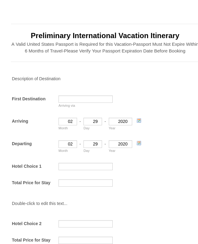 Preliminary Vacation Itinerary