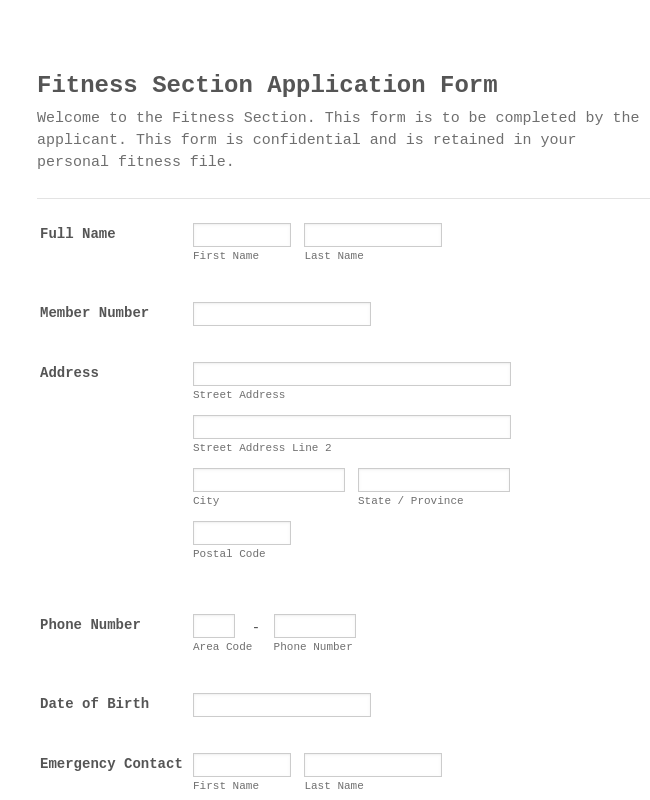Fitness Section Questionnaire