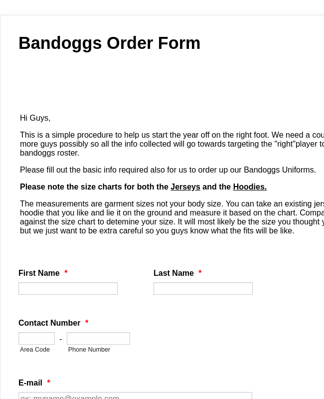 Jerseys and Hoodies Order Form