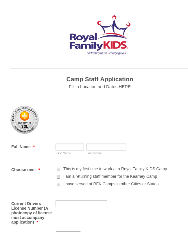 Royal Family Kids Camp Application Form