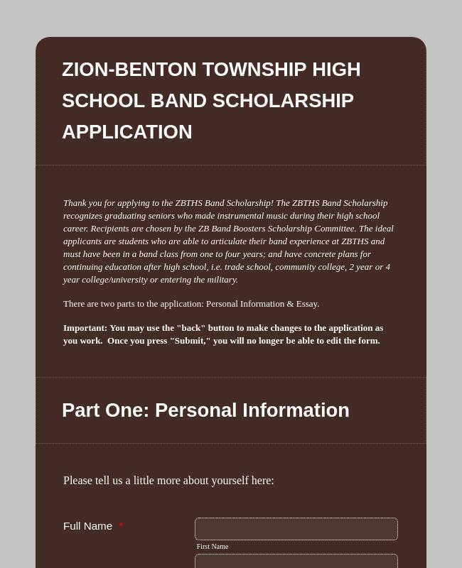 Band Scholarship Application Form