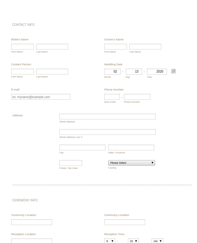 Wedding Consultation Form
