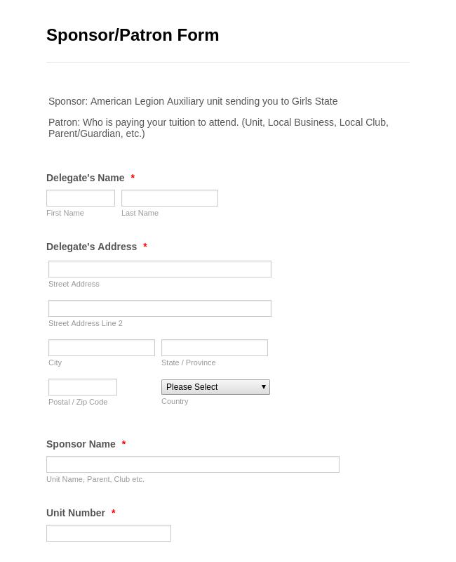 Sponsor Information Form