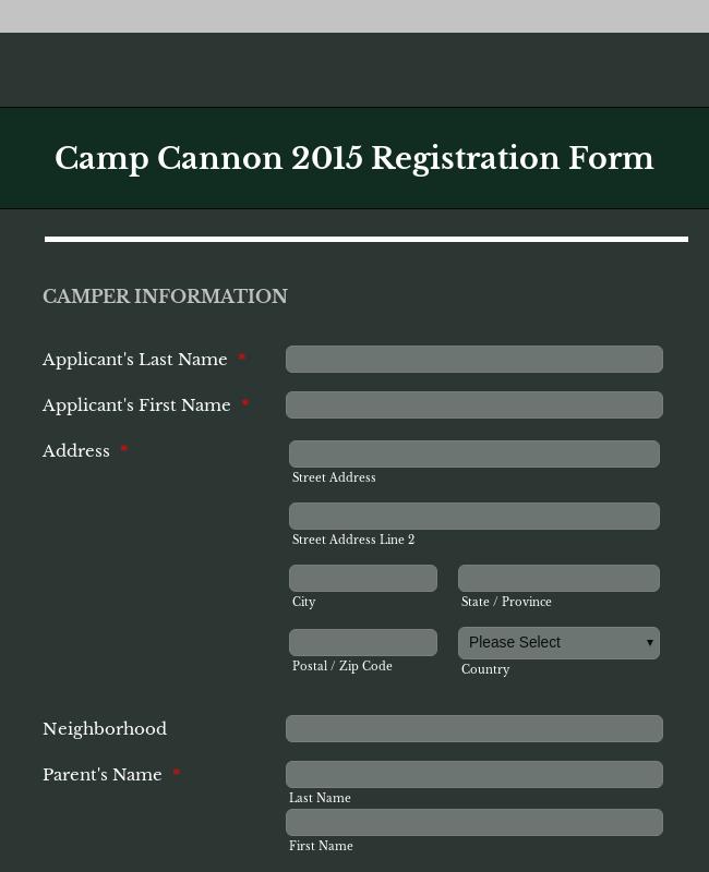 Wide Version Of Camp Cannon 2015 Registration Form
