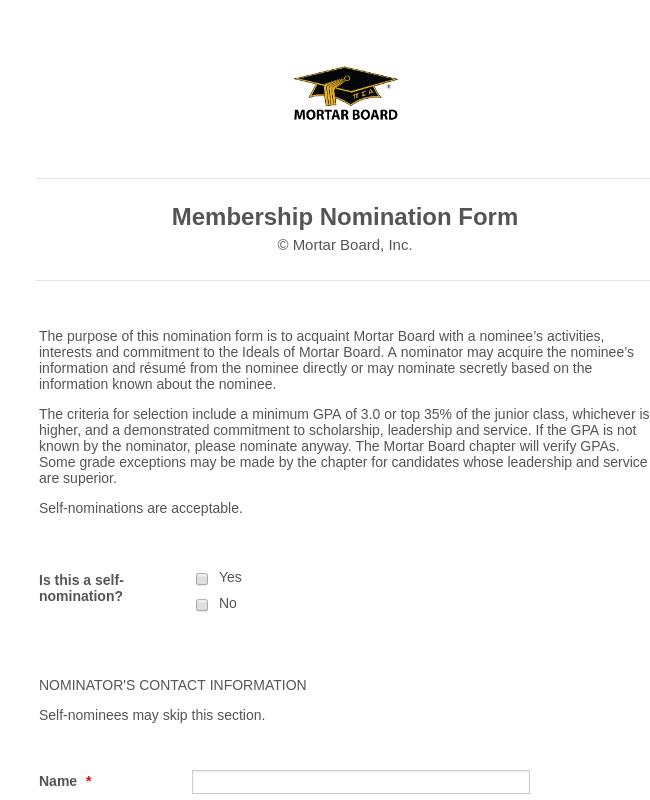 Membership Nomination Form