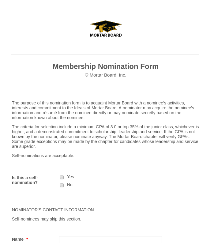 Mortar Board Membership Nomination Form
