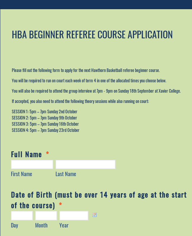 Referee Course Application