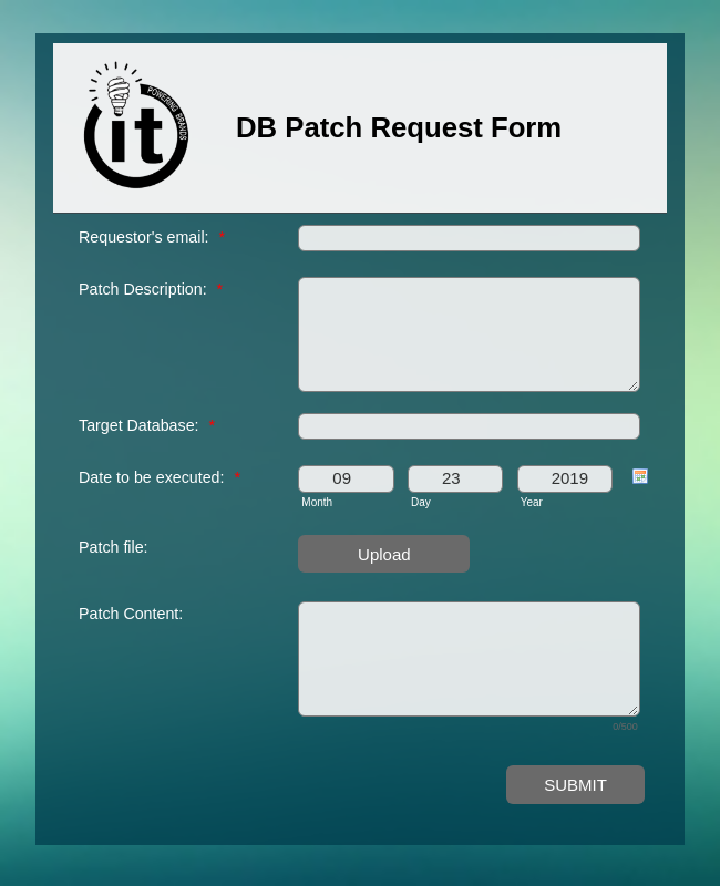 Database Patch Request Form