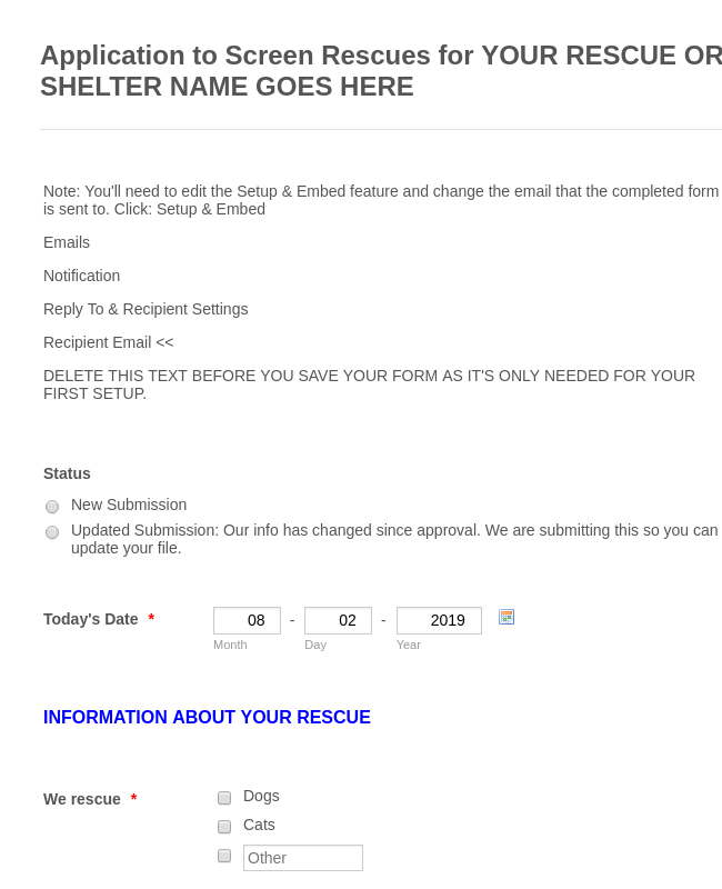 Rescue Application Form