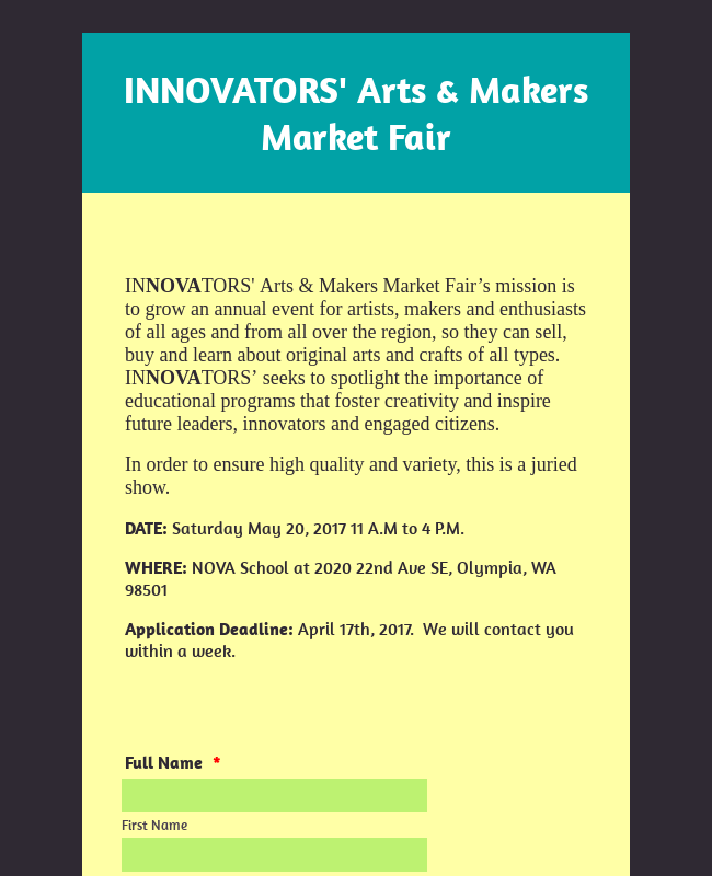 Arts and Makers Market Fair Form