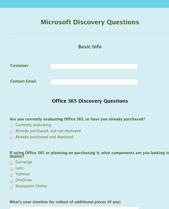 Microsoft Discovery Questions