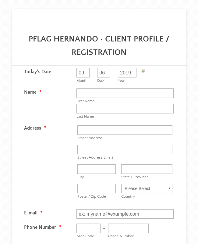 Travel Client Registration Form