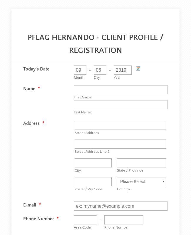 Travel Client Registration Form