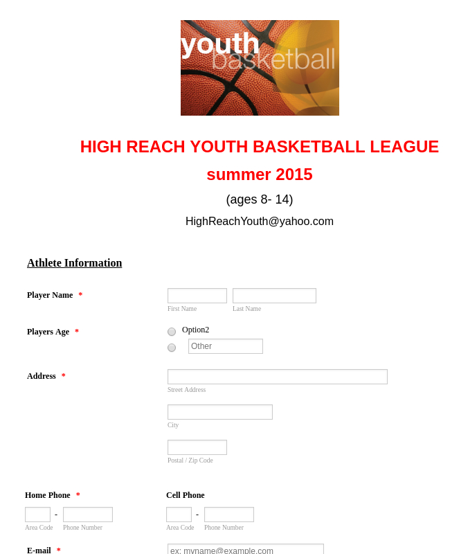 Basketball League Registration Form 4