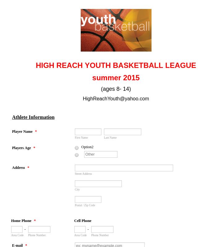 Basketball League Registration Form
