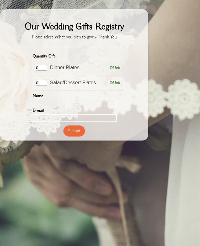 Wedding Gifts Registry