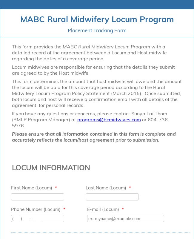 Locum Placement Tracking Form