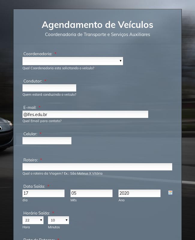Veículo formulário de agendamento