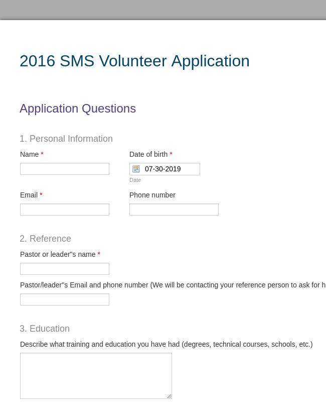2016 SMS Scholarship Application