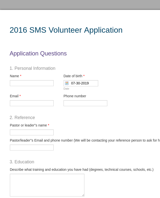 2016 SMS Scholarship Application