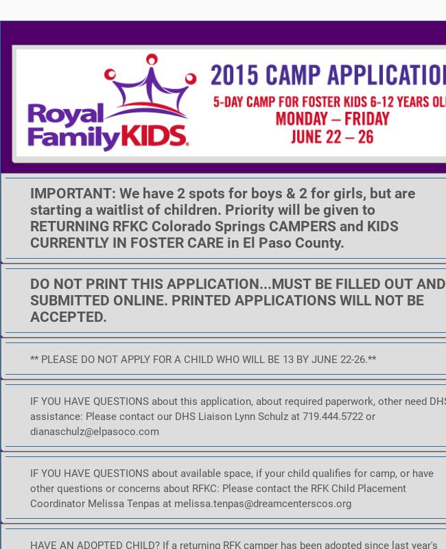 Kids Summer Camp Registration Form