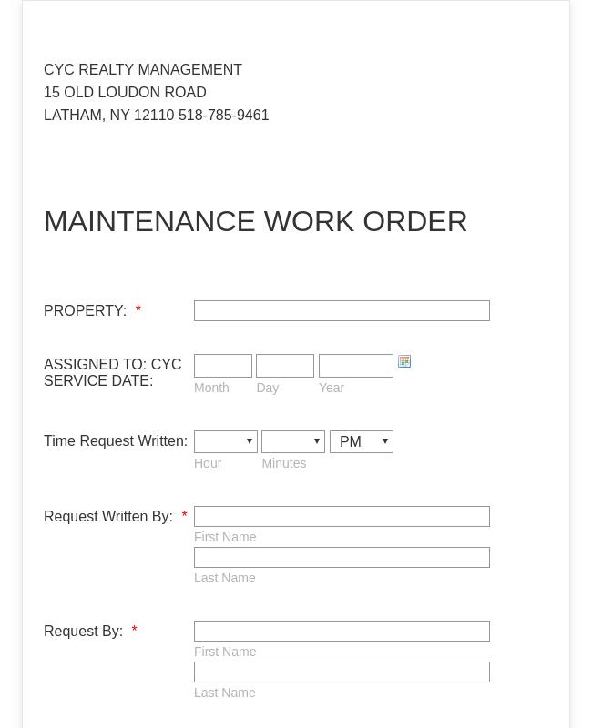 Maintenance Work Order