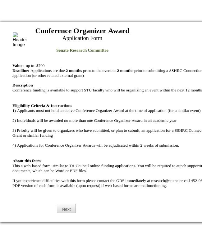 Conference Organizer Award Application