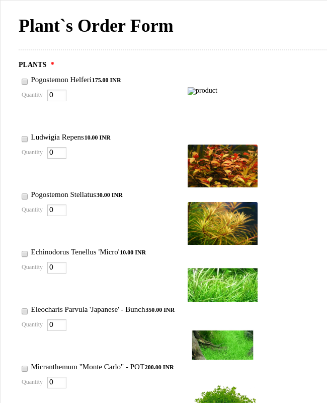 PLANT`s Order Form
