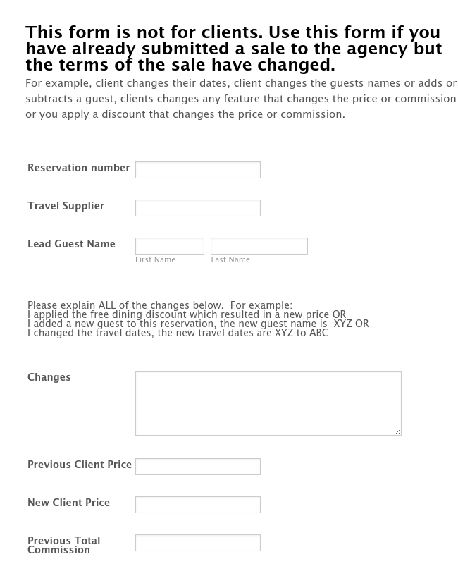 Suzanne Change Reservation Reporting Form