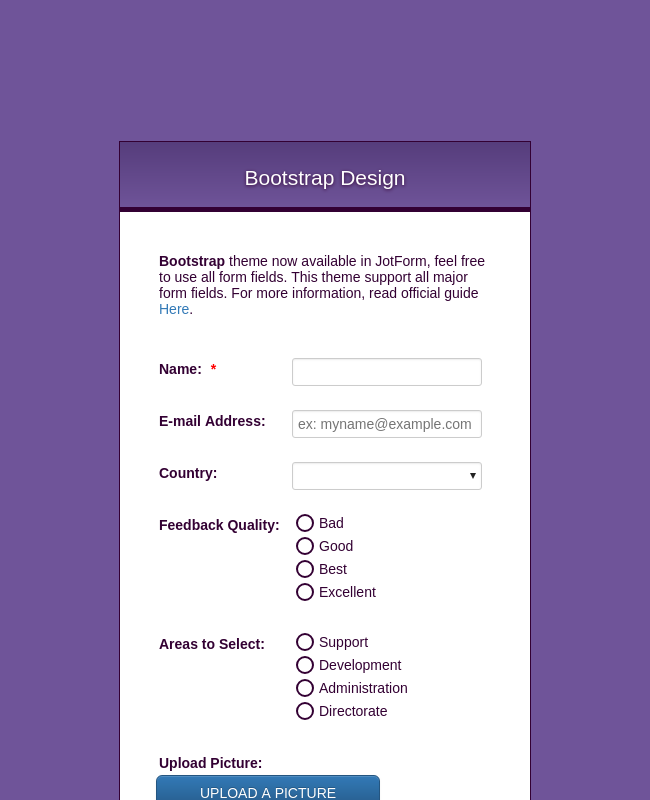 Bootstrap Design Theme Form Template | JotForm on windows application template, business application template, mobile application template, apple application template, development application template, google application template, facebook application template, microsoft application template, driver application template, html application template,