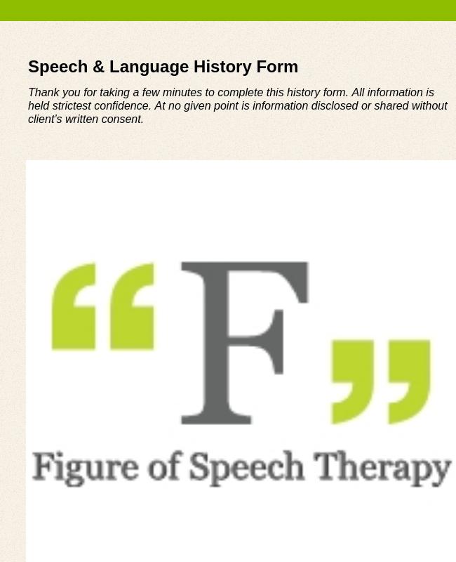 Speech Language History Form