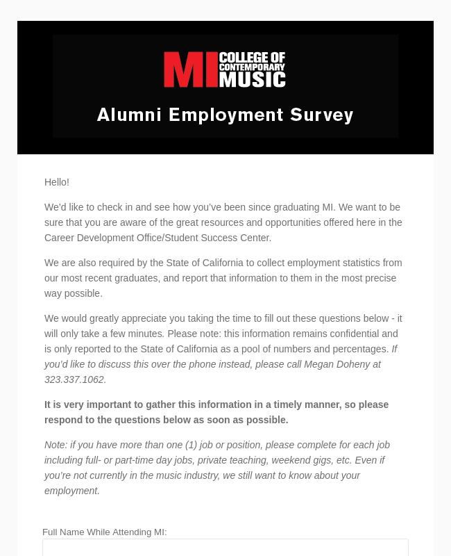 Alumni Employment Survey