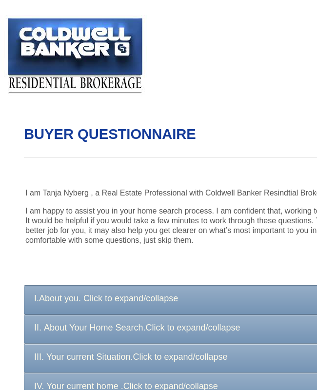 Buyers Questionnaire