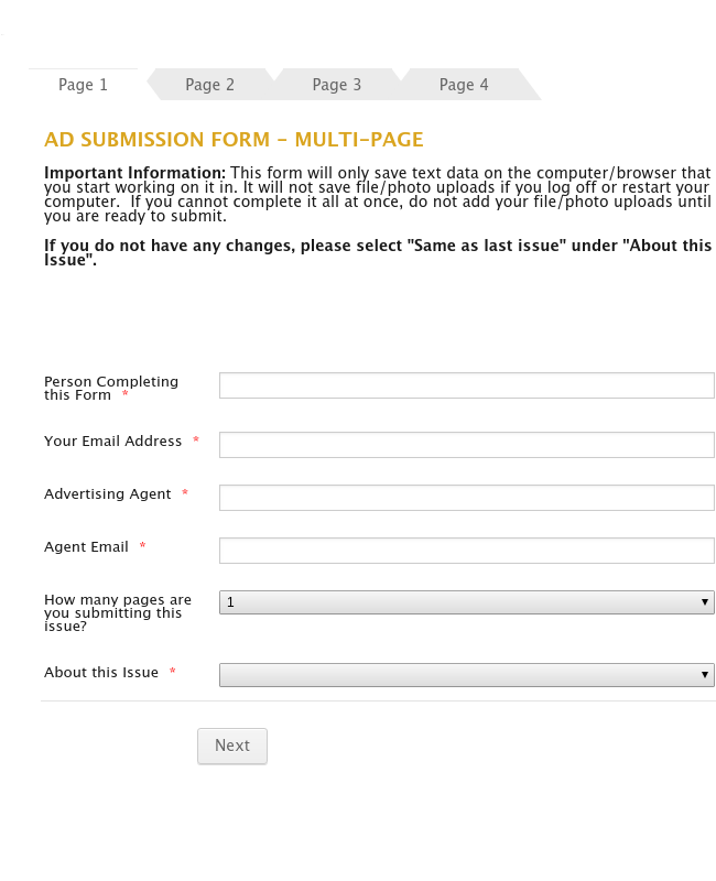 Ad Submission Form