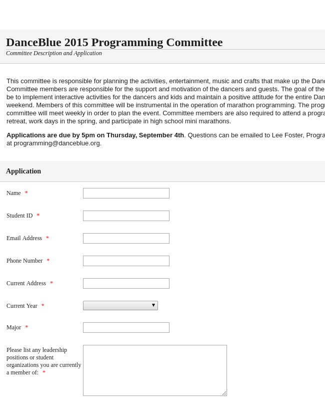 Programming Committee Form