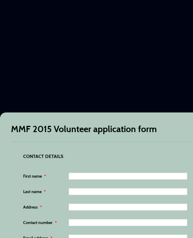Volunteer Application Form For Music Festival