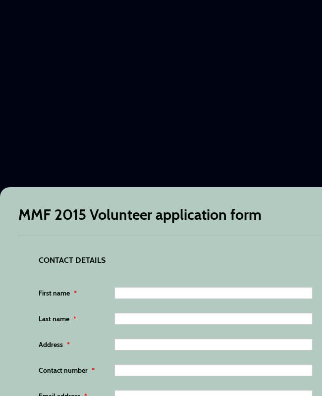 Volunteer Application Form For Music Festival