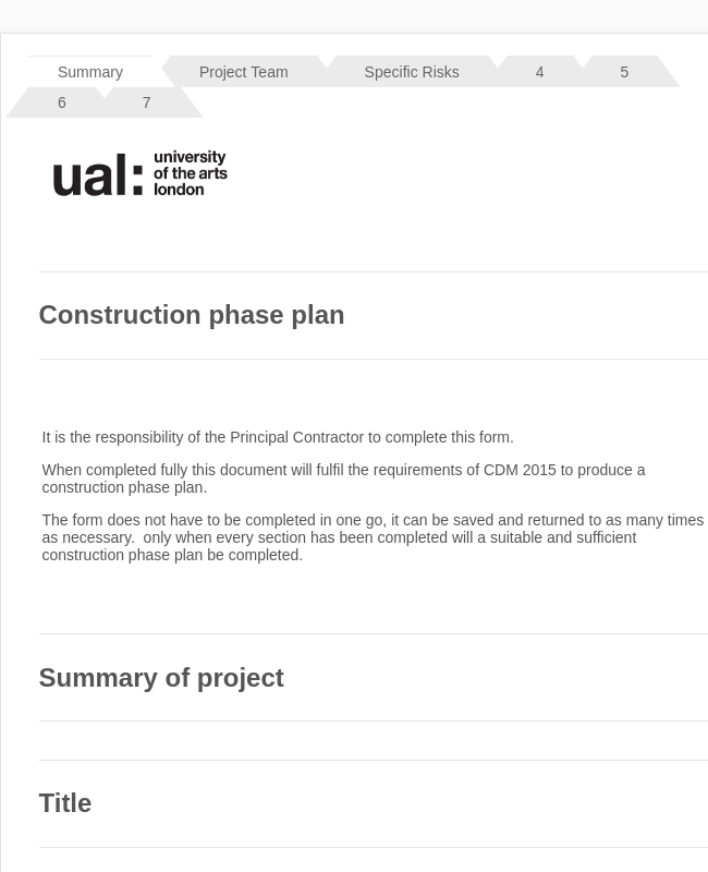 Construction Phase Plan Simple Projects