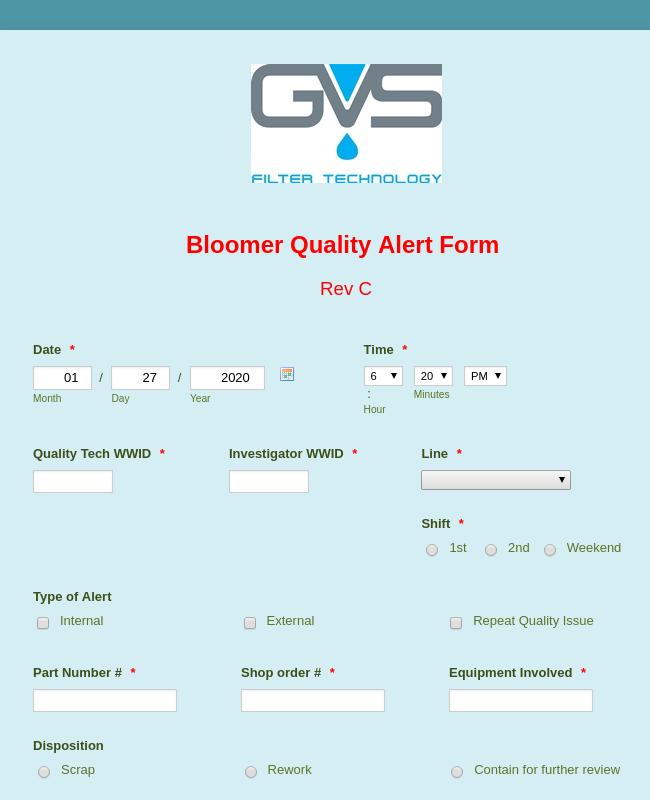 Quality Alert Form