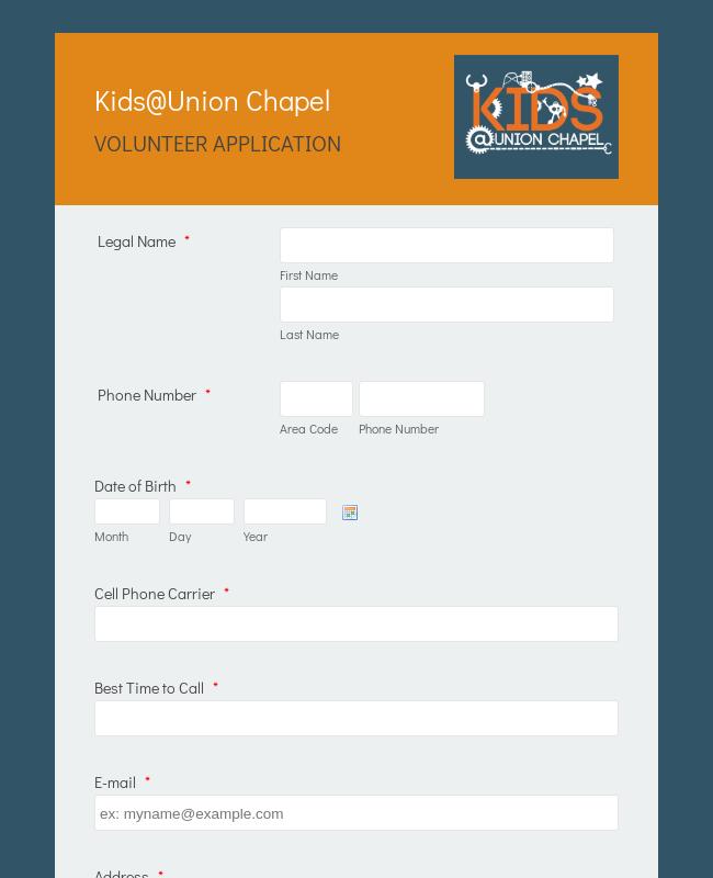 Children's Ministry Volunteer Application