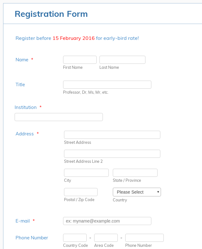 BOR - Conference Registration form