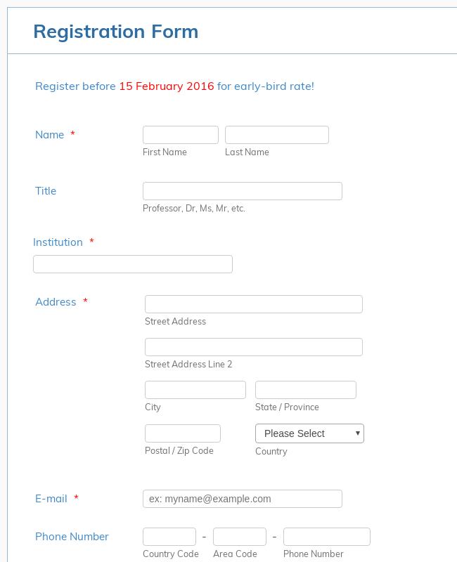 BOR - Conference Registration form