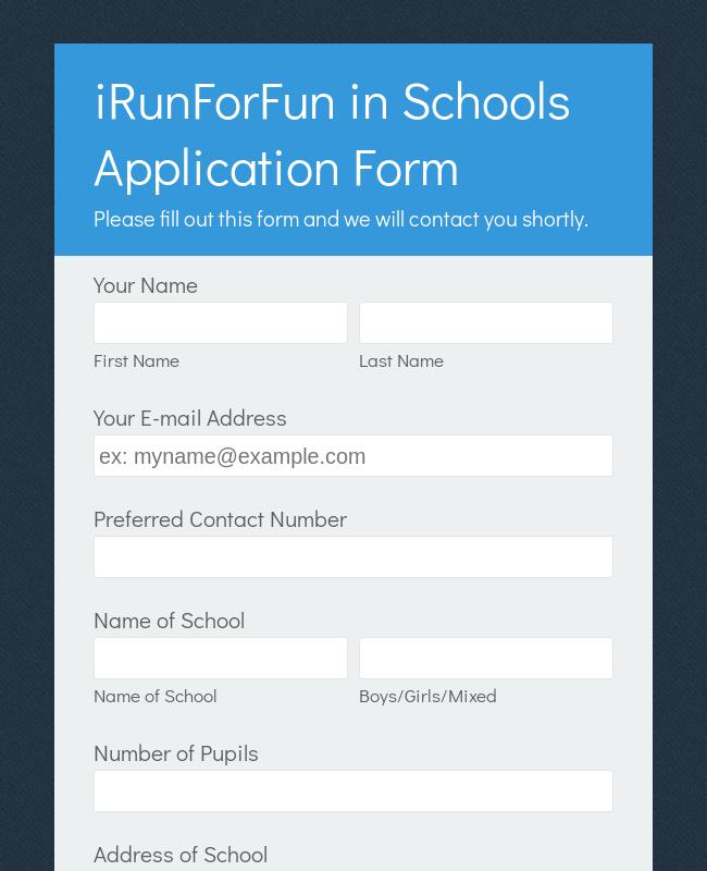 Recreational Running Registration Form