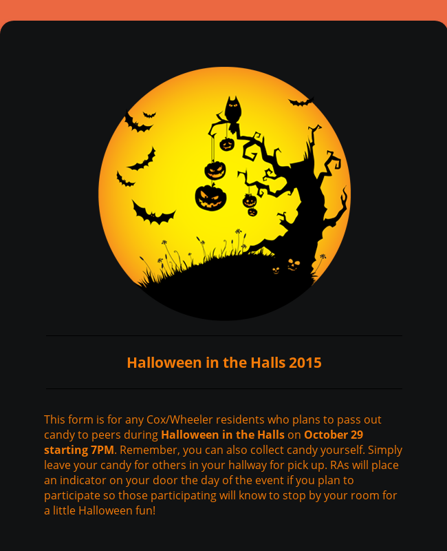 Halloween in the Halls 2015 - Candy Sign Up
