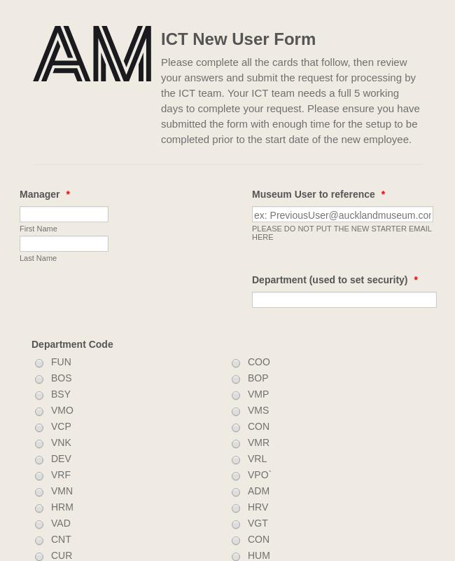 ICT New User Form