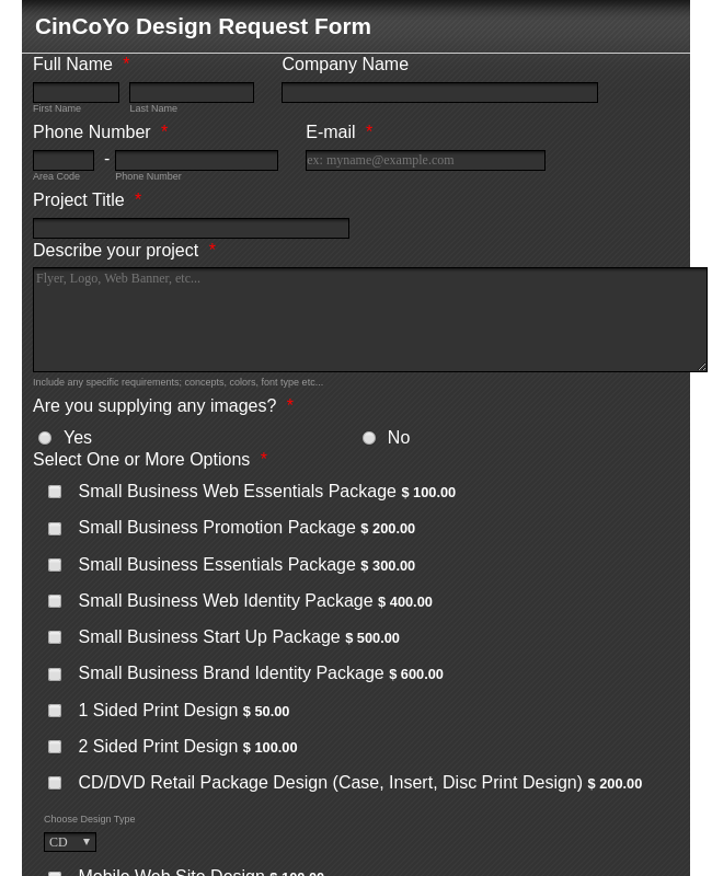 Corporate Website Design Request Form