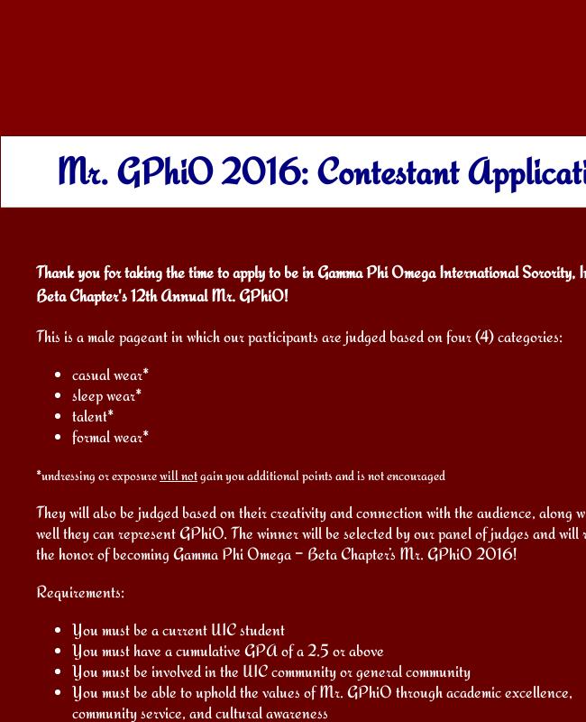 Contestant Application Form