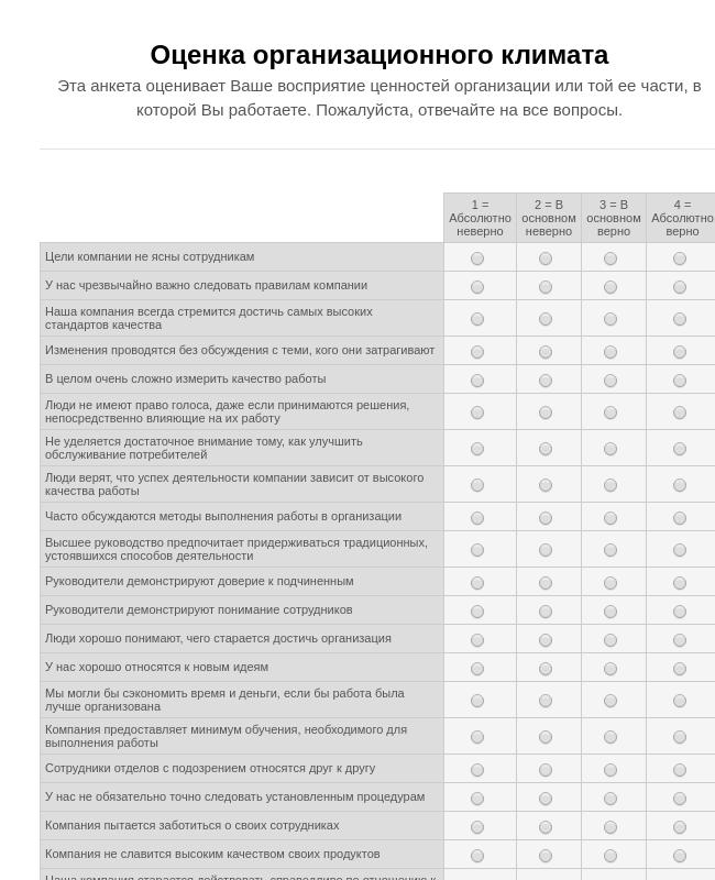 Оценка организационного климата