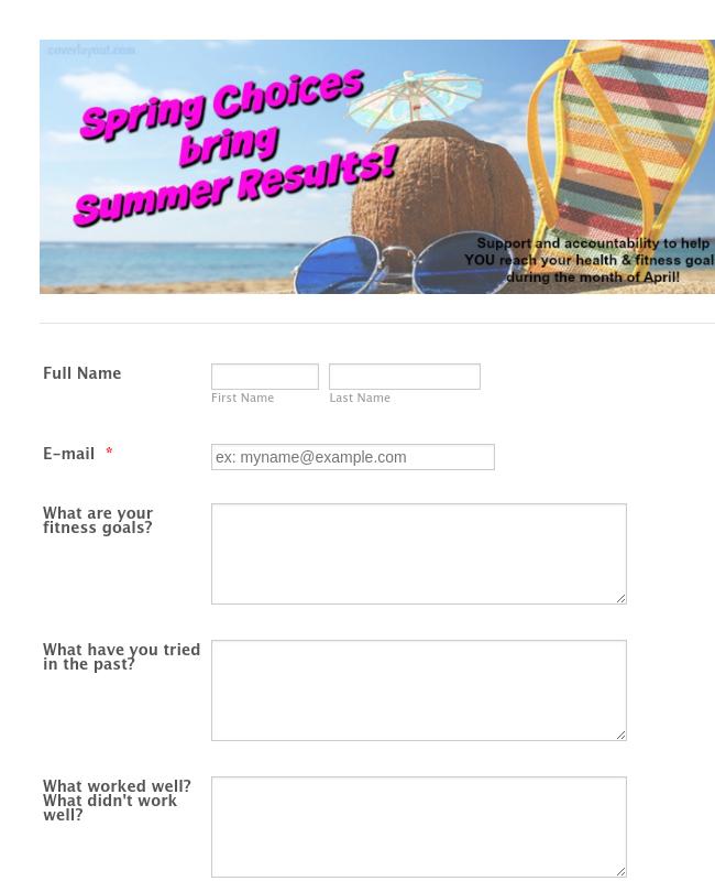 Summer Fitness Enrollment Form