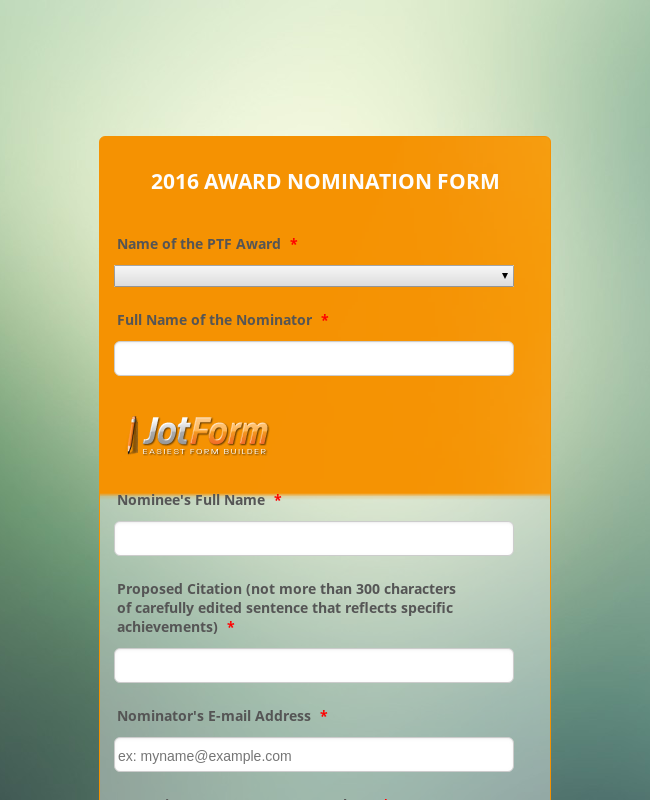 PTF Award Initial Nomination